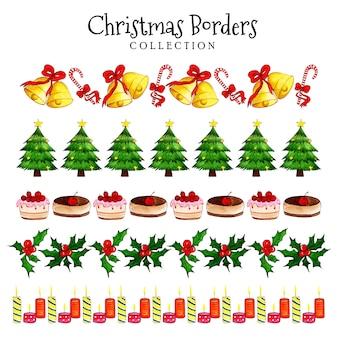 水彩クリスマスボーダーコレクション