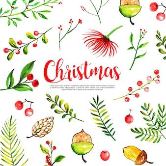水彩クリスマス要素コレクションの背景