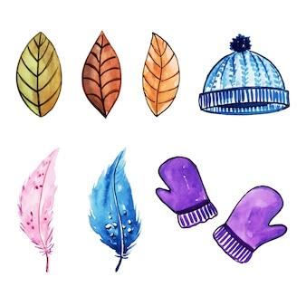 水彩冬の要素コレクション