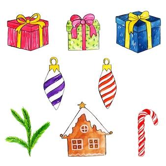 水彩クリスマスの要素コレクション