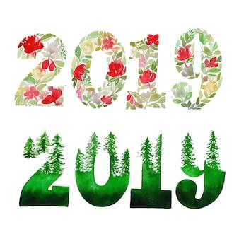 水彩冬と新年の花と葉のコレクション