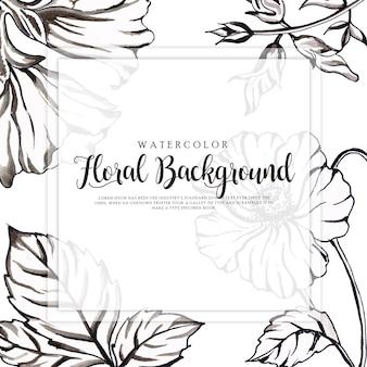 美しい水彩黒と白の花の背景