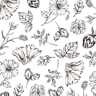 水彩の黒と白の花柄の背景