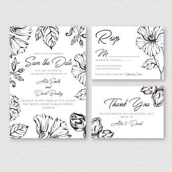 黒と白の水彩花の結婚式の招待カード