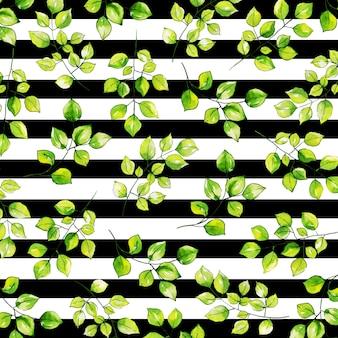 水彩画の葉のパターンの背景の縞模様