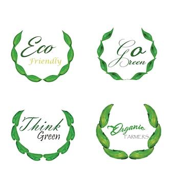 水彩緑の葉ロゴコレクション