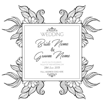 手描きの黒と白の花の結婚式招待状のカード