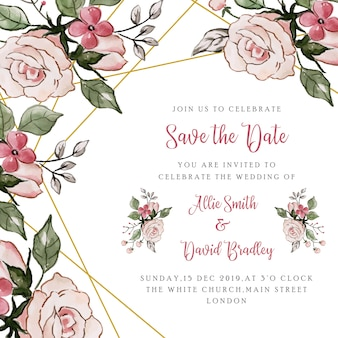 Спасите дату цветочное свадебное приглашение