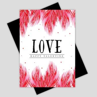 水彩バレンタイン花グリーティングカード