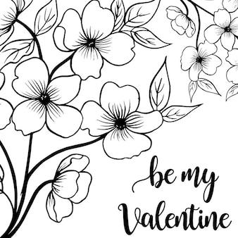 バレンタイン手描きの花の背景