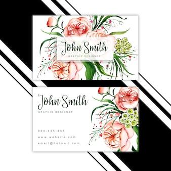 Акварель цветочная визитная карточка