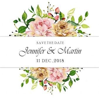 水彩ピンクのバラの花の結婚式の招待状