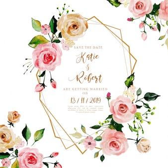 美しい水彩花のフレーム、結婚式の招待カード