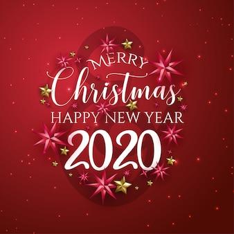 Красная открытка с новым годом и рождеством