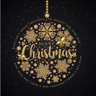 Веселая новогодняя открытка на черном и золотом цветах