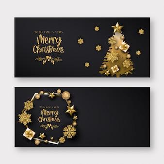 Черный и золотой баннер с рождеством