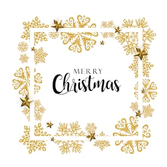 Белая и золотая рамка с рождеством