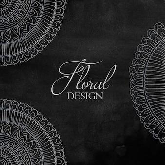 水彩テクスチャの花のオーナメントデザイン
