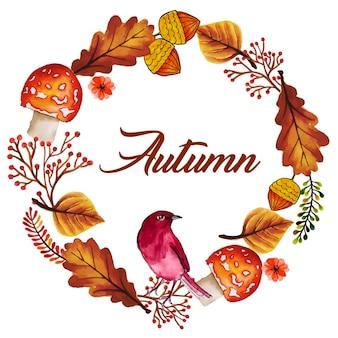 水彩秋の花輪