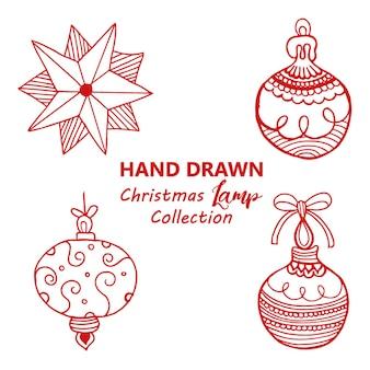 手描きのクリスマスランプの背景