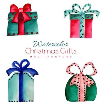 手描きの水彩クリスマスプレゼント