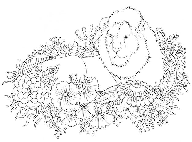 Лев и цветок иллюстрация к цвету