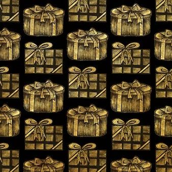 クリスマスゴールデンハッチングスタイルの要素の背景
