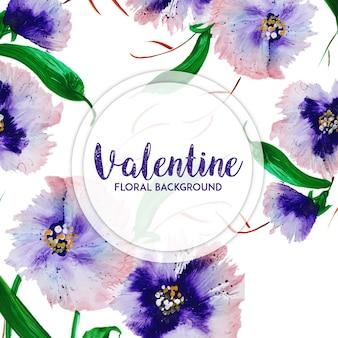 Акварель валентина цветочный фон