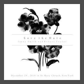 水彩黒と白の花の結婚式招待状