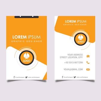 Вертикальная оранжевая и серая визитная карточка