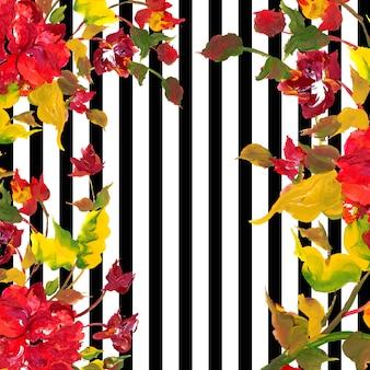 ストライプの水彩春の花の背景
