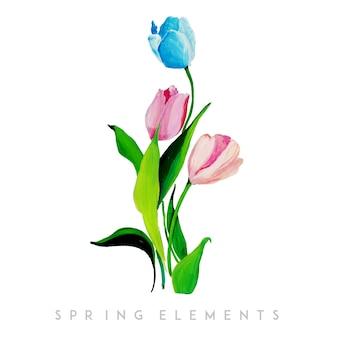 Акварельная весенняя цветочная коллекция