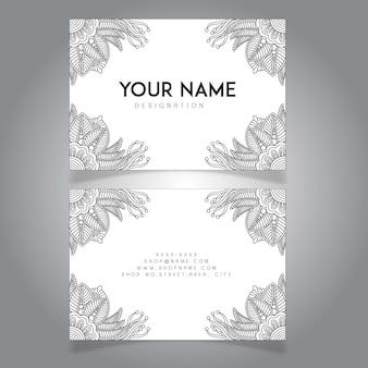 Рука черная и белая рисованная цветочная визитная карточка
