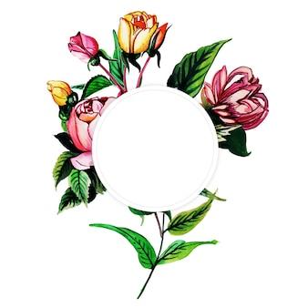 Акварель юбилейная цветочная рамка многоцелевой