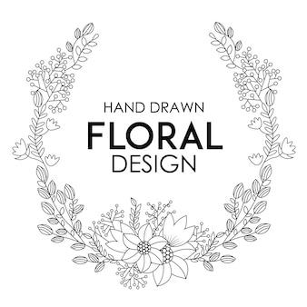 手描きのフローラルデザイン