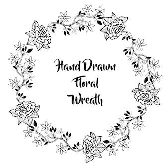 手描きの白と黒の花輪