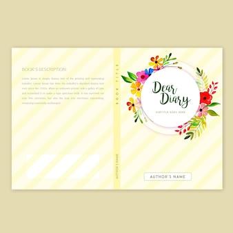 水彩の花のフレームでブックカバーデザイン