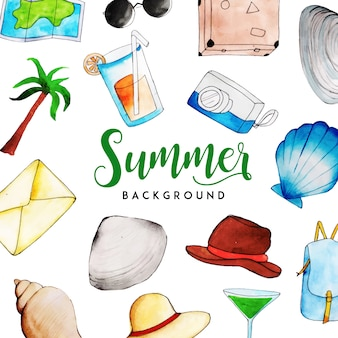 水彩夏の要素多目的背景