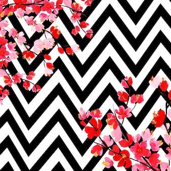 ストライプの水彩花の背景