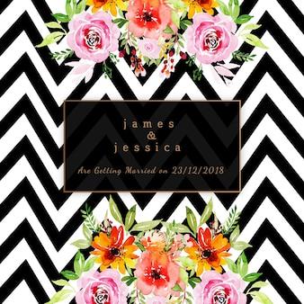 ストライプのパターンと水彩の花の結婚式の招待状
