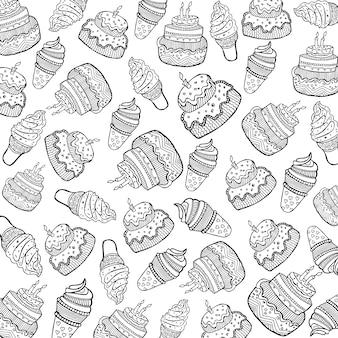 ケーキとアイスクリームのパターンの背景
