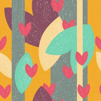 カラフルな抽象的なシームレスパターンの葉