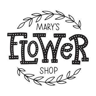 メアリーのフラワーショップ、花屋のロゴ