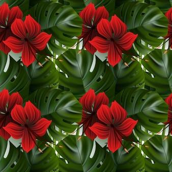 ハイビスカスパターン。熱帯のヤシの葉。シームレスな背景。