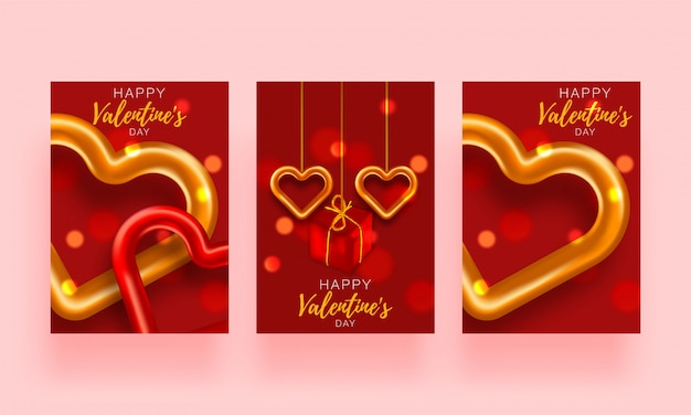 背景セットパンフレットが大好きです。ギフトポスターカード。バレンタインデーの販売バナーテンプレート。心と贈り物のバナー。