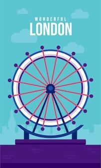Лондонский глаз плоский плакат иллюстрация
