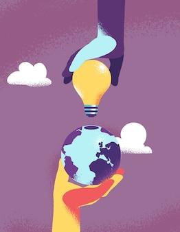 Две руки, соединяющие светлый куб на земной шар