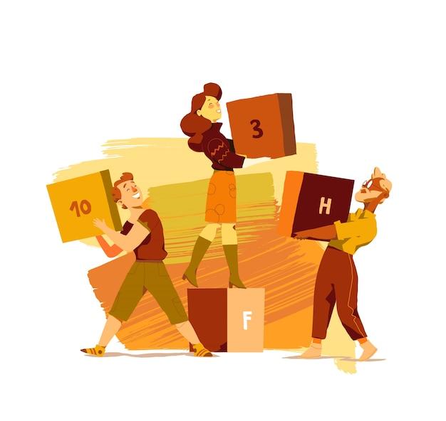 Счастливые люди работают вместе, чтобы управлять запасами