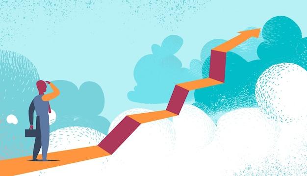 未来を雲の向こうに見ている起業家