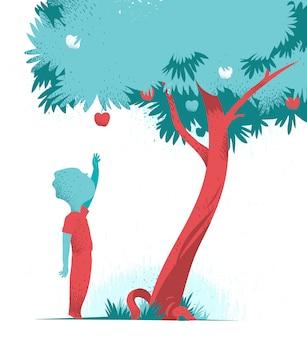 リンゴの木からリンゴに手を伸ばす子